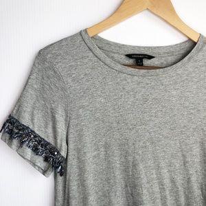 Banana Republic Fringe Beads Grey Crew Tee Shirt S